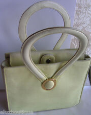 CHRISTIAN DIOR Leather HANDBAG Tote Bag Gold CD Logo Purse Yellow Linen Shopper