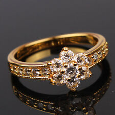 Size7 Womens Lotus Ring 24k Yellow Gold Filled Solid Lab Diamond Ring