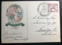 1936 Berlin Germany Olympics Door Cancel Postcard Cover To Holland