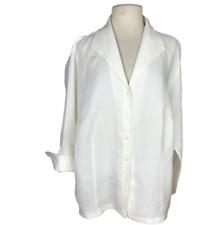 Talbots Womens 18W Irish Linen Button Up Blouse Top Ivory Flip Cuff Sleeves