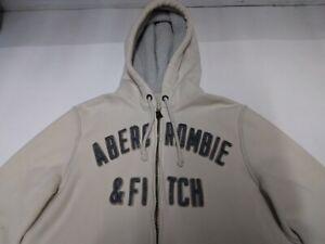 Abercrombie Fch Distressed Mens M Full Zip Heavyweight Fleece Lined Ivory Hoodie