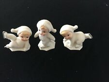 Item #5424 Set /3 Ice Skating Snow Babies Figurines Orig Box Homco Home Interior