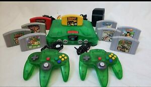 Nintendo 64 N64 Jungle Green Console w/ 2 Green Controllers, 9 games & Exp pak