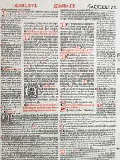 Decorative Post Incunable Leaf Law Gratian Decretum  Large Folio (C) - 1510