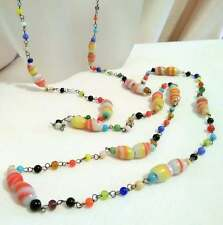"""Art Deco Czech Glass Flapper Necklace Candy Swirl Colorful Glass 48"""""""