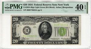 1934 $20 FEDERAL RESERVE NOTE NEW YORK FR.2054-Blgs LIGHT GREEN SEAL PMG 40 EPQ