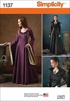 Simplicity Sewing Patterns 1137 Misses Medieval Fantasy Costumes Size 6-14 H5