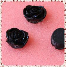 4 Roselline NERE LUCIDE ROSE PERLINE PERLE FIORI IN RESINA CABOCHON 1,5 CM
