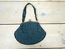 Vintage RFC Lace Clutch Handbag Black Evening Bag Made in England