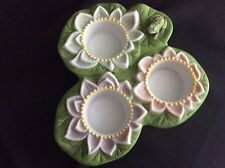 Retired Partylite Pond Lilly 3 Lotus Flower candle Holder Tea Light EUC