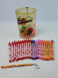 "Lot 24 Vintage Bensia Pop-a-Point Pencils ""Fruit Fragrance"" w/ plastic container"