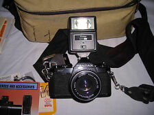 PENTAX MV 35mm CAMERA & SMC PENTAX-50MM Lens 1:2 Asahi -FLASH--BAG---TESTED