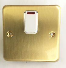 MK Genuine Quality Satin Brass 20A Isolator Switch with Neon K5233 SAB