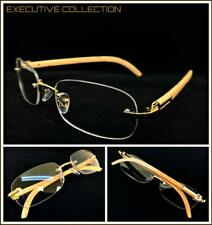 Mens Sophisticated CLASSY ELEGANT Clear Lens EYE GLASSES Rimless Gold Wood Frame