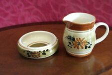 BABBACOMBE TORQUAY POTTERY CREAM JUG & BOWL for TEA STRAINER