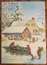 RARE Tasha Tudor Vintage American Artist #SG15-93S kids with Christmas Tree