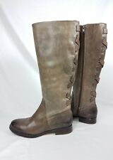 Womens Arturo Chiang knee high Brown Leather Zippered Riding Boots Size 6M