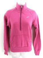 NIKE Womens Jumper Sweater S Small Pink Cotton & Polyester 1/2 Zip