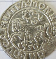 Origin Medieval silver coin Grand Duchy of Lithuania penny knight chase 1550