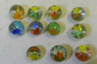 #11552m Vintage Group of 10 Single Line Cross Through Cat's Eye Marbles .59 .62