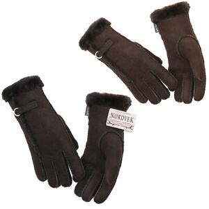 Nordvek Ladies Premium Genuine Sheepskin Gloves Fur Cuff Womens With Buckle
