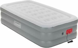 TWIN SIZE AIR MATTRESS W/ BUILT-IN 120V PUMP COLEMAN AIRBED DOUBLE HIGH CAMPING