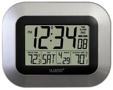La Crosse Technology Atomic Digital Wireless Wall Clock Indoor Outdoor Temp New