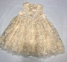 New Mae Li Rose Ivory Embroidered Lace Tulle Wedding Party Dress Size 18/24M NWT