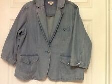 Cato Woman's denim jacket plus size 18 to 20 W one button front light blue 76