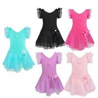 Toddler Girls Gymnastics Leotard Ballet Dress Mesh Tutu Skirt Dancewear Costumes