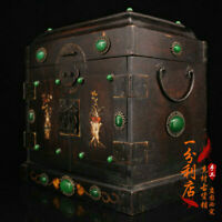 Chinese old antique Gem inlay handcarved huanghuali wood Storage box