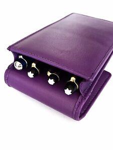 Purple Triple/Quadruple Leather Pen Case/Pouch Leather Hand Made