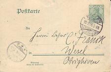 Reich Brief ( Germania Ganzsache ) Keeken > Wesel vom  15.09.1906