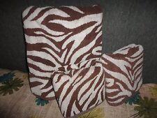 VINTAGE LUXE CITY CHIC ZEBRA BROWN & WHITE STRIPE ANIMAL (3PC) BATH HAND TOWELS