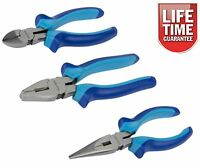 3Pc Soft Grip Combination Pliers Set Long Nose Cutters Side Cutting Plier