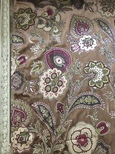 Printed paisley floral velvet taupe fabric luxury SOLD BY THE METRE