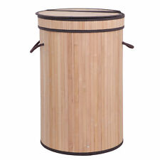 Bamboo Laundry Hamper Storage Basket Folding Dirty Clothes Hamper with Lid