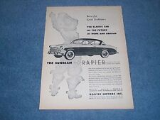 """1957 Sunbeam Rapier Vintage Ad """"Classic Car of the Future at Home & Abroad"""""""