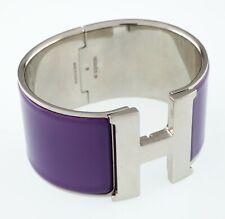 Hermes Clic Clac Purple Extra Wide Bangle Bracelet Nice!