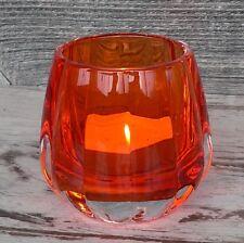 Teelichthalter orange Glas Windlicht Votivglas Hochzeit modern Teelichtglas NEU