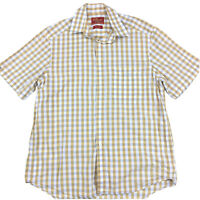 RM Williams Men's Short Sleeve Shirt Brown Blue White Check Size M Relaxed Fit