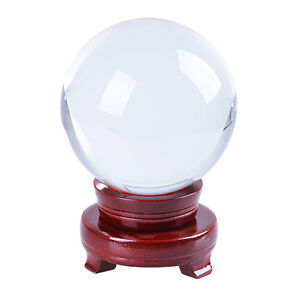 120mm Clear Glass Crystal Ball Sphere Photo Prop Paperweight Wood Stand with Box