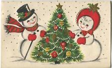 VINTAGE CHRISTMAS SNOWMAN SNOW GIRL TREE ORNAMENTS EMBOSSED CARD ART PRINT