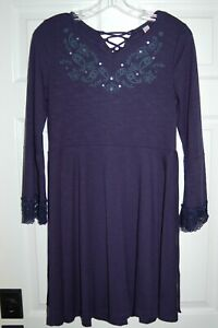 Justice Long Sleeve Navy Dress Size - 16