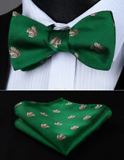 BGA04GS Green Animal Pattern Squirrel Self Bow Tie handkerchief Set