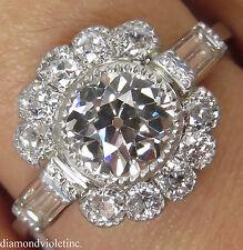 GIA 1.85CT ANTIQUE VINTAGE OLD EURO DIAMOND ENGAGEMENT WEDDING CLUSTER RING PLAT