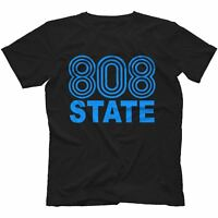 808 State T-Shirt 100% Cotton Retro Rave Acid House Pacific StateAsh