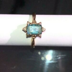 Lovely Blue Zircon Emerald Cut Stone in 14K gold, Amazing Depth, Poor Picture!