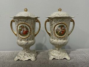 Vintage Antique Empire Porcelain Co. English Pair of Ceramic Urns / Vases