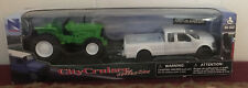 New Ray Ford F-250 Super Duty Pickup Truck Hauling a Green Tractor Brand New Box